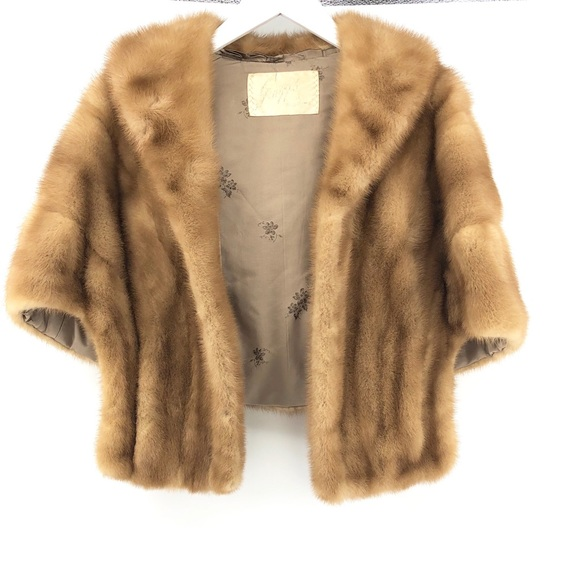 Vintage Jackets & Blazers - Vintage Mink Fur Cape OS Shawl Winter Layer